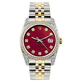Rolex Datejust 18K Yellow Gold & Stainless Steel Diamond 36mm Watch