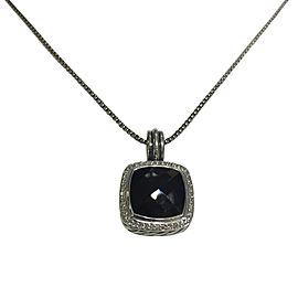 David Yurman Albion Sterling Silver Onyx & 032ct Diamond Pendant Necklace