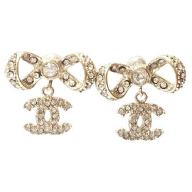 Chanel Gold Tone Hardware Ribbon Bow CC Crystal Earrings