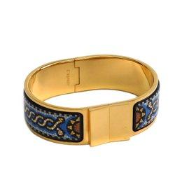 Hermes Enamel Cloisonne and Gold Tone Metal Bangle Bracelet