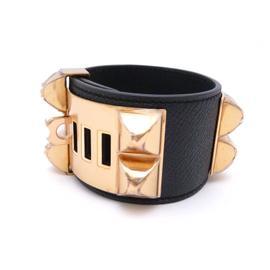 Hermes Veau Epsom Rose Gold Plated Bangle Bracelet