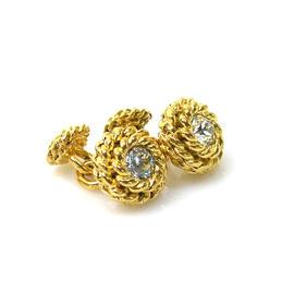Chanel Metal Gold And Rhinestone Cufflinks