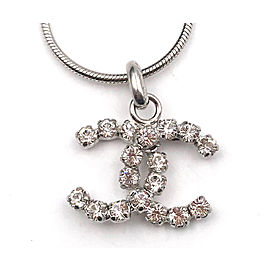 Chanel Silver Tone Hardware CC Rocky Clear Crystal Necklace
