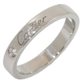 Cartier Platinum 1P Diamond Engraved Band Ring Size 4.75