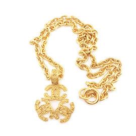 Chanel CC 24K Gold Plated Triple Pendant Necklace