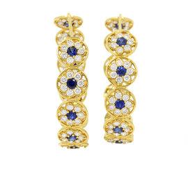 Buddha Mama 20K Yellow Gold Diamonds & Sapphires Flower Hoop Earrings