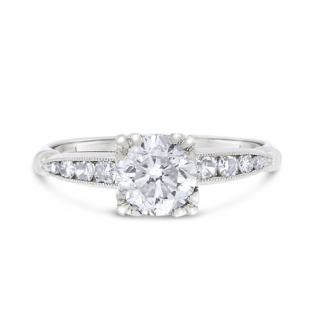 "Image of ""950 Platinum 0.92ct. Diamond Round Euro Cut Engagement Ring Size 5"""