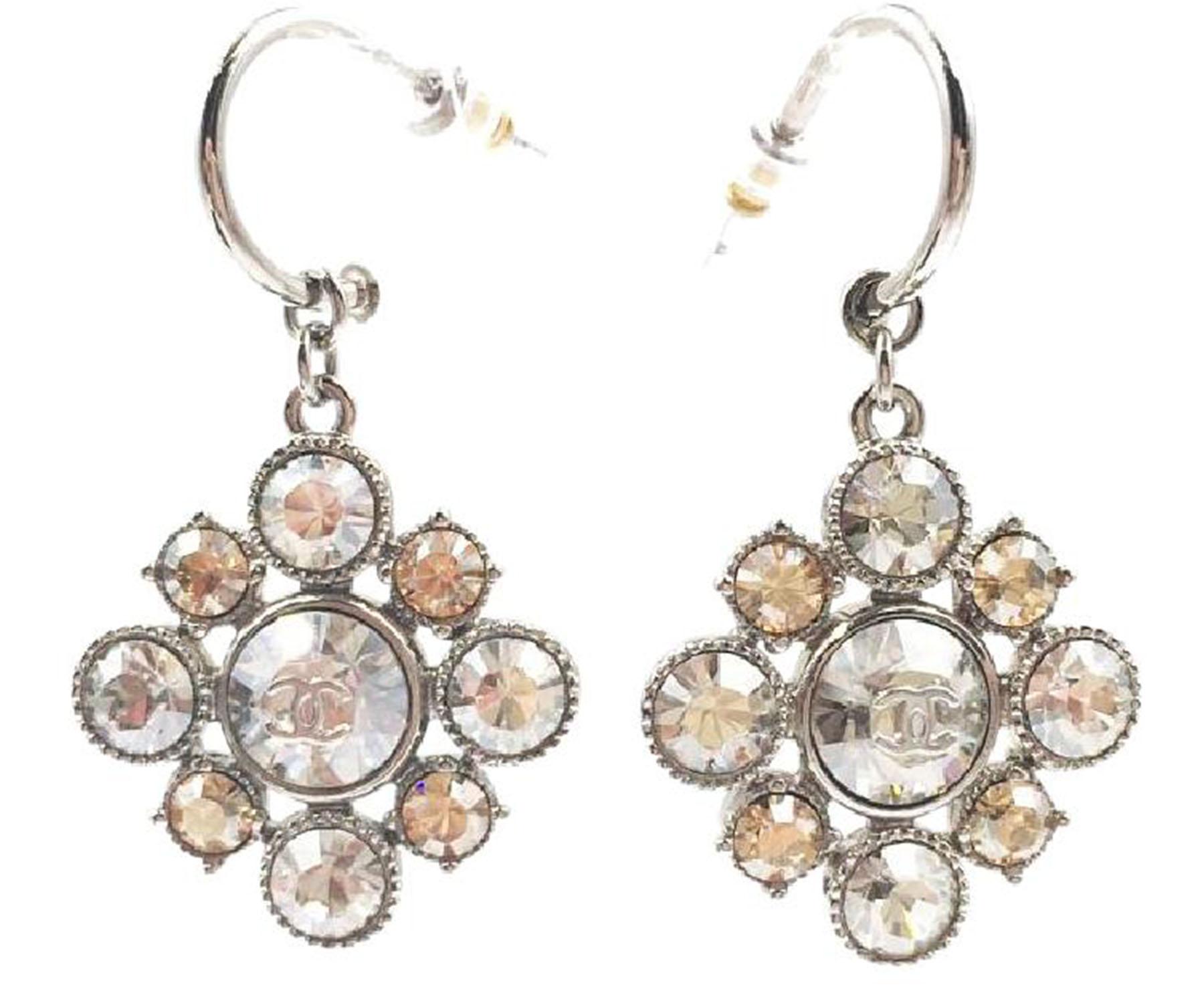 "Image of ""Chanel Silver Tone Metal & Crystal Argyle Dangle Piercing Earrings"""