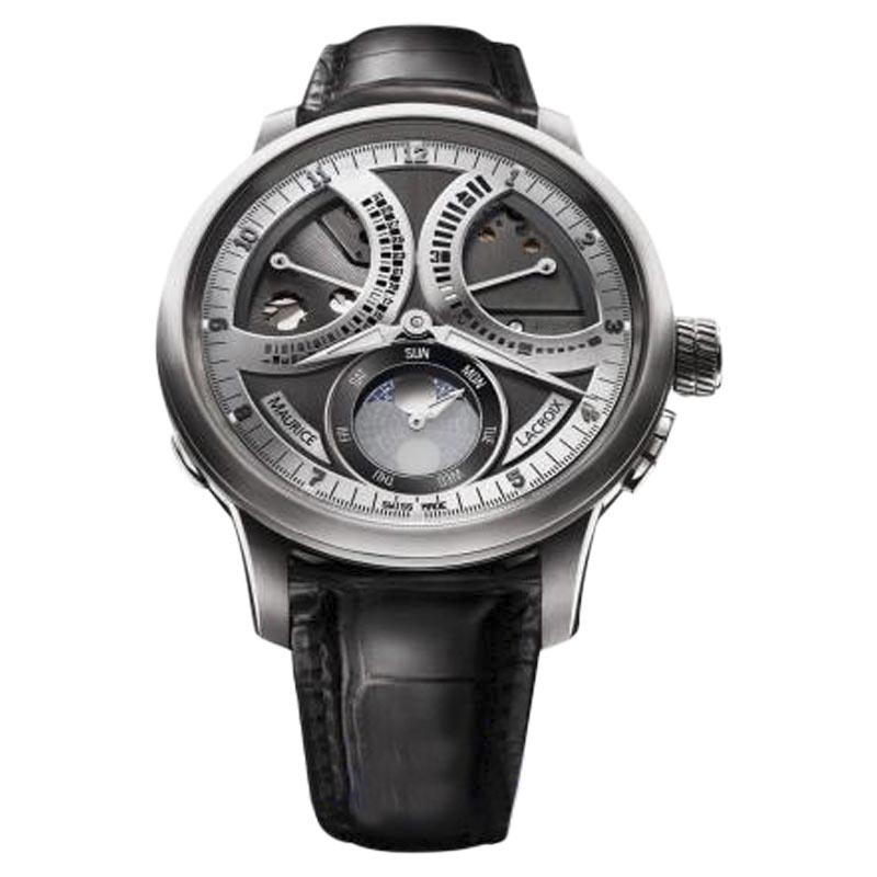 """Image of """"Maurice Lacroix Masterpiece Lune Retrograde Stainless Steel & Leather"""""""