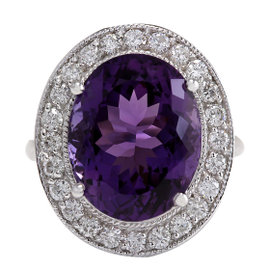 14K White Gold Amethyst & Diamond Ring Size 6.75
