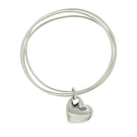 Tiffany & Co. Co Sterling Silver Heart Tag 3 Bangle Bracelet