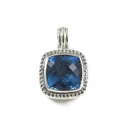 David Yurman Sterling Silver Blue Topaz 0.30ct. Diamond Albion Enhancer Pendant