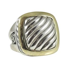 David Yurman Sterling Silver and 18K Yellow Gold 14mm Carved Cable Split Shank Albion Ring Size 5.5