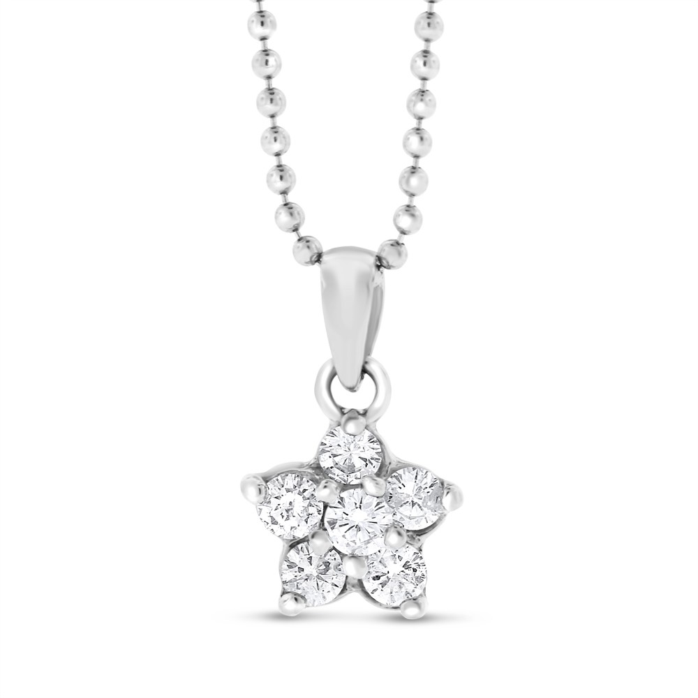 "Image of ""18k White Gold 0.42 Ct. Natural Diamond Small Flower Floral Pendant"""