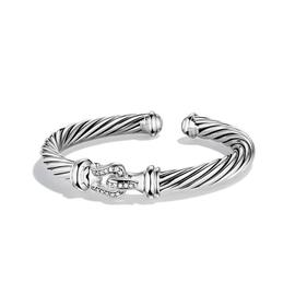 David Yurman Cable Classic Sterling Silver 0.18 Ct Paved Diamond Buckle Cuff Bracelet