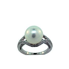 Mikimoto 18K White Gold White South Sea Pearl & 0.28ct. Diamond Pearl Ring Size 6.75