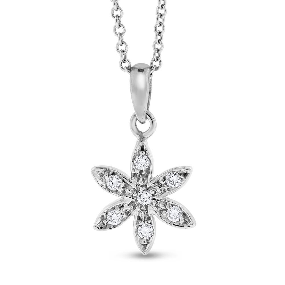 "Image of ""14K White Gold 0.15ct. Diamond Small Snowflake Pendant Necklace"""