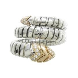 Bulgari 18K Pink Gold & Stainless Steel Serpenti Ring Size 6.25
