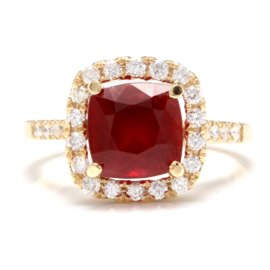 14K Yellow Gold 4ct Red Ruby and 0.6ct Natural Diamond Ring Size 6.5