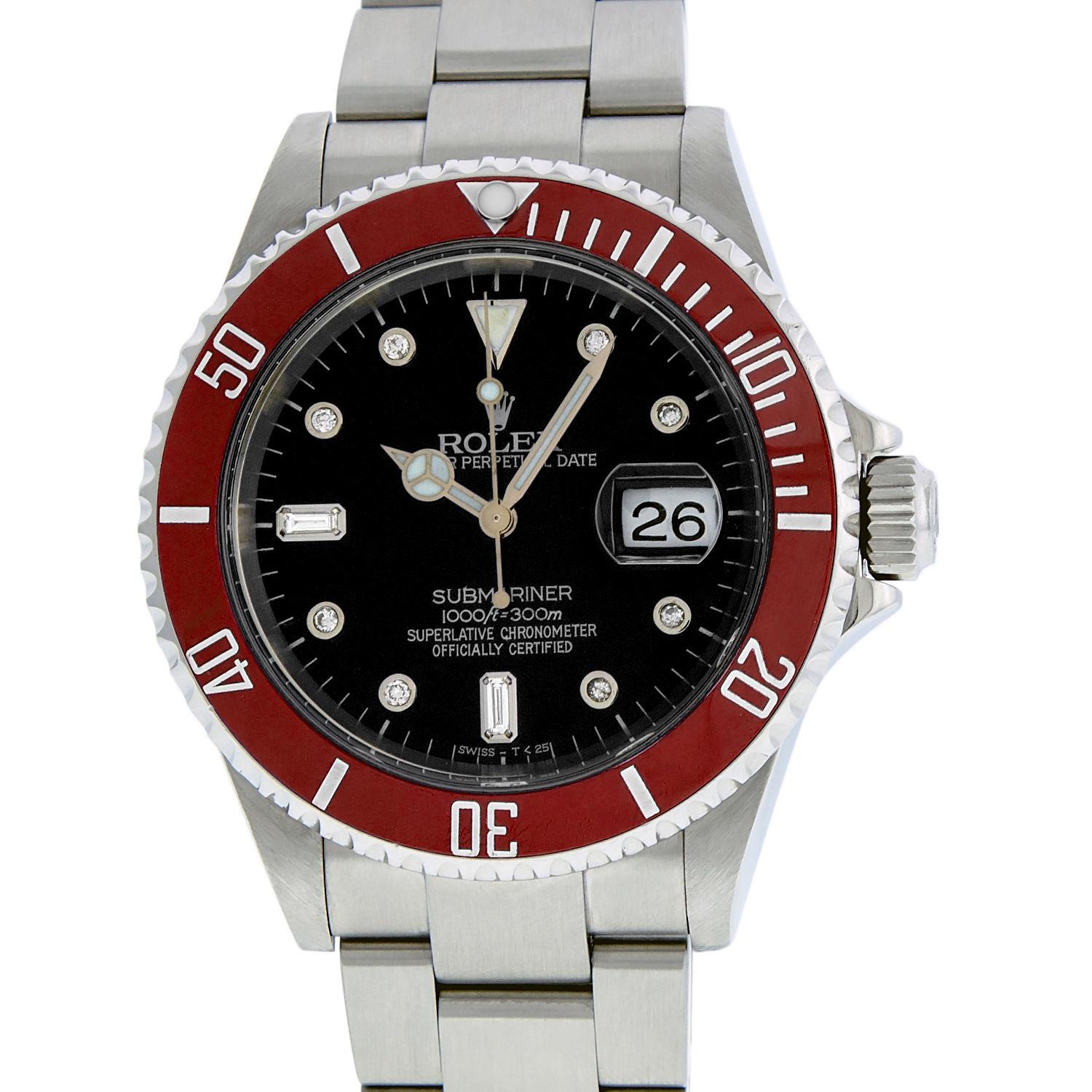 """Image of """"Rolex Red Submariner 16610 Stainless Steel Black Diamond 40mm Mens"""""""