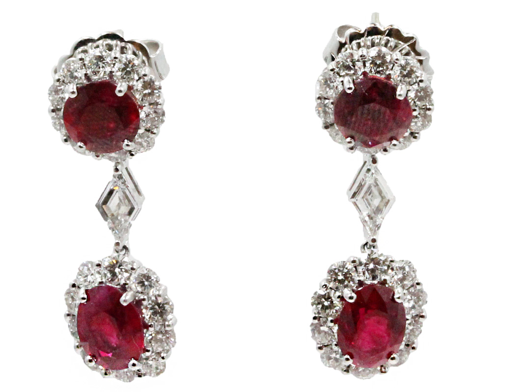 "Image of ""Gregg Ruth 18K White Gold Ruby and Diamond Drop Earrings"""
