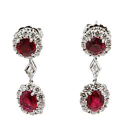 Gregg Ruth 18K White Gold Ruby and Diamond Drop Earrings