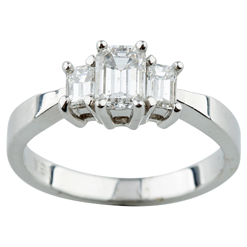 """""18K White Gold and 0.60ct Emerald Cut Diamond Engagement Ring Size 6.5"""""" 2096646"