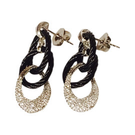 Charriol Alor Noir Black Stainless Steel & Diamond Cable Earrings