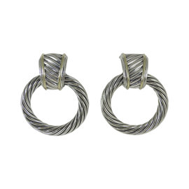 David Yurman 925 Sterling Silver 14K Yellow Gold Thoroughbred Cable Door Knocker Earrings