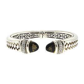 Scott Kay Sterling Silver Diamond & Smokey Quartz Braided Hinged Bangle Bracelet