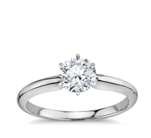 "Image of ""Blue Nile Platinum and .73ct Round Diamond Ring Size 5"""