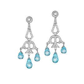 Diamond Laced, Blue Topaz, 18K White Gold Chandelier Earrings