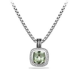 David Yurman Sterling Silver Prasiolite Diamonds Albion Pendant