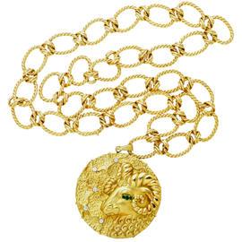Hammerman Brothers 18K Yellow Gold Diamond & Emeralds Ram's Head Necklace