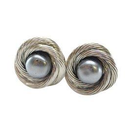 Chanel Silver-Tone Faux Pearl Earrings