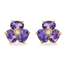 14K Yellow Gold 3ct Natural Tanzanite and .06ct Diamond Earrings