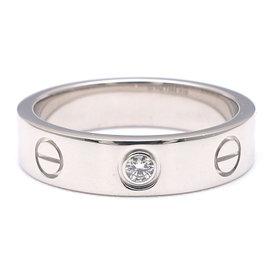 Cartier 18K White Gold 1P Diamond Mini Love Ring Size 3.75