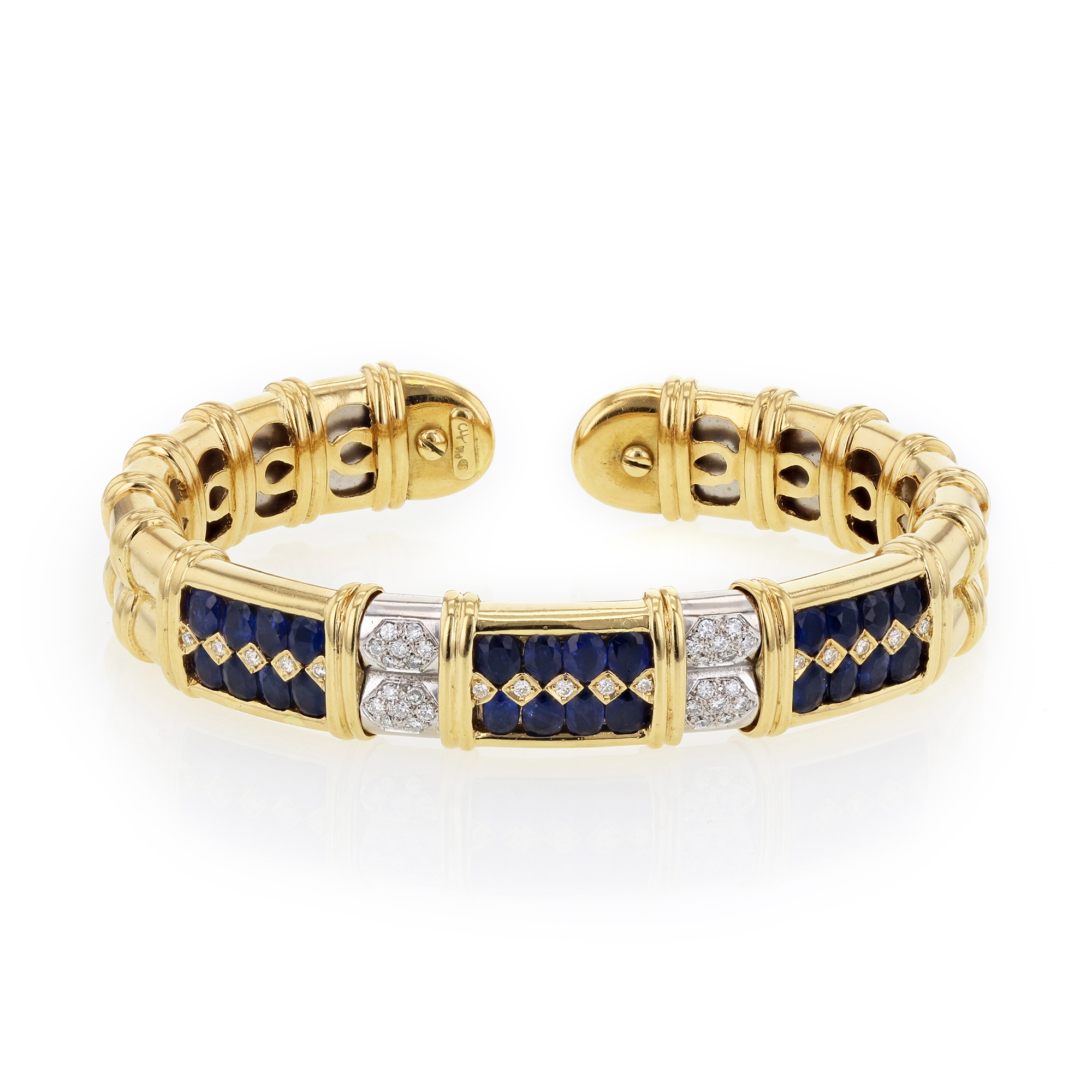 "Image of ""Sabbadini Gioielli 18K Yellow Gold with Blue Sapphire & Diamond Cuff"""