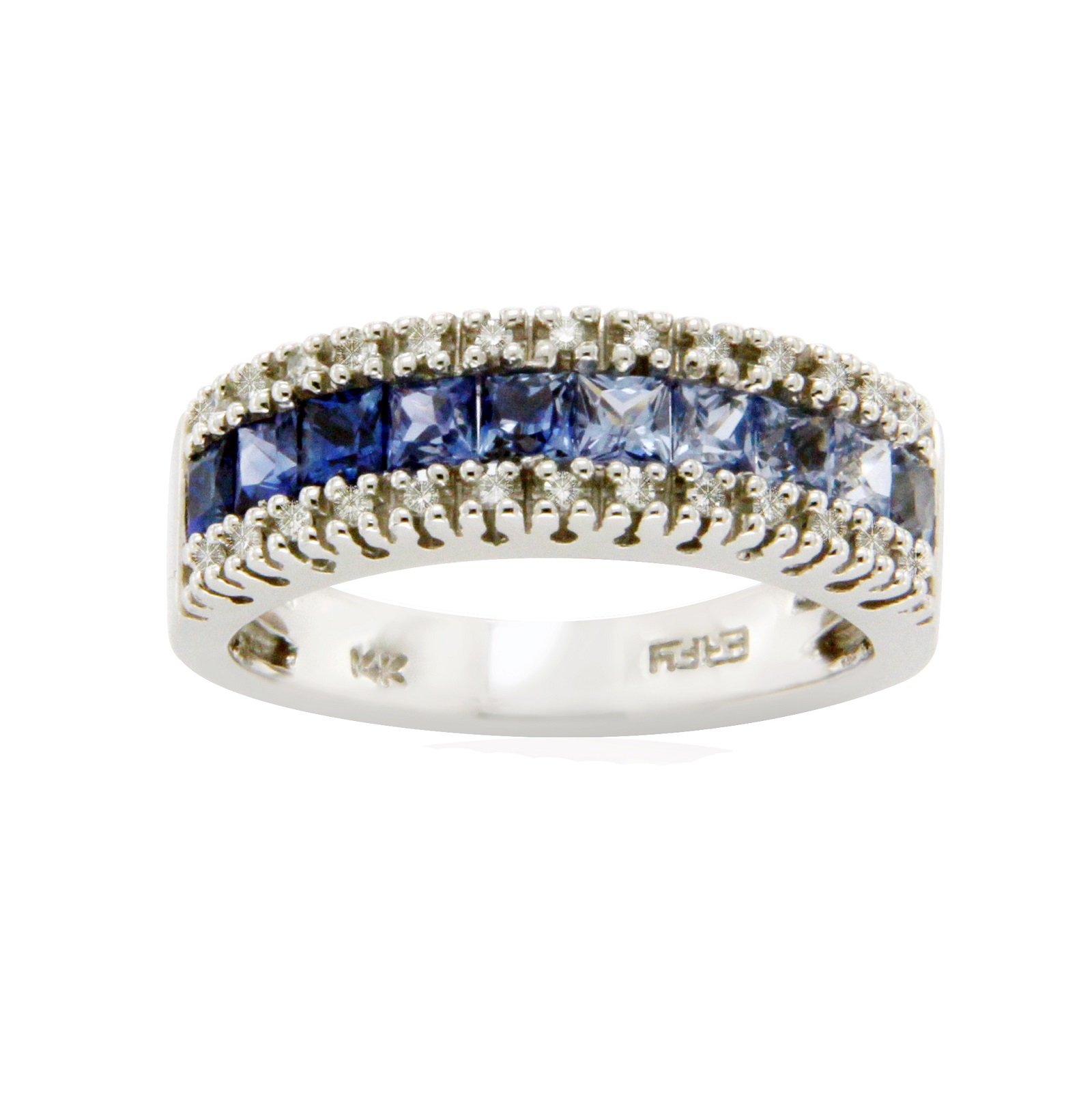 "Image of ""Effy 14K White Gold Diamond & Rainbow Blue Sapphires Band Size Ring"""