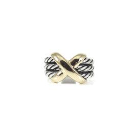David Yurman Sterling Silver & 14K Yellow Gold Triple Row X Ring Size 6.5