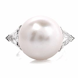 Platinum South Sea Pearl Trillion Diamond Cocktail Ring Size 5