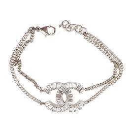 Chanel Silver Tone & Crystal CC Bracelet