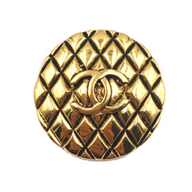 Chanel 24K Gold Plated Quilted Round Brooch