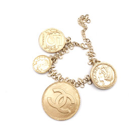 Chanel Gold Tone Hardware CoCo Coin Twisted Chain Bracelet