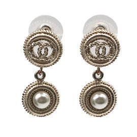 Chanel Gold Tone Hardware CC Round Faux Pearl Dangle Earrings