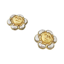 Chanel Gold Tone Hardware Flower Logo Earrings