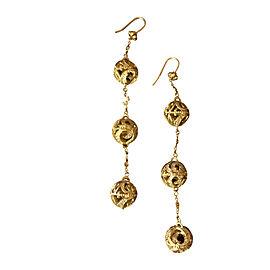 Doris Panos 18K Yellow Gold and Diamond 'Triple Larsa Cascade' Earrings