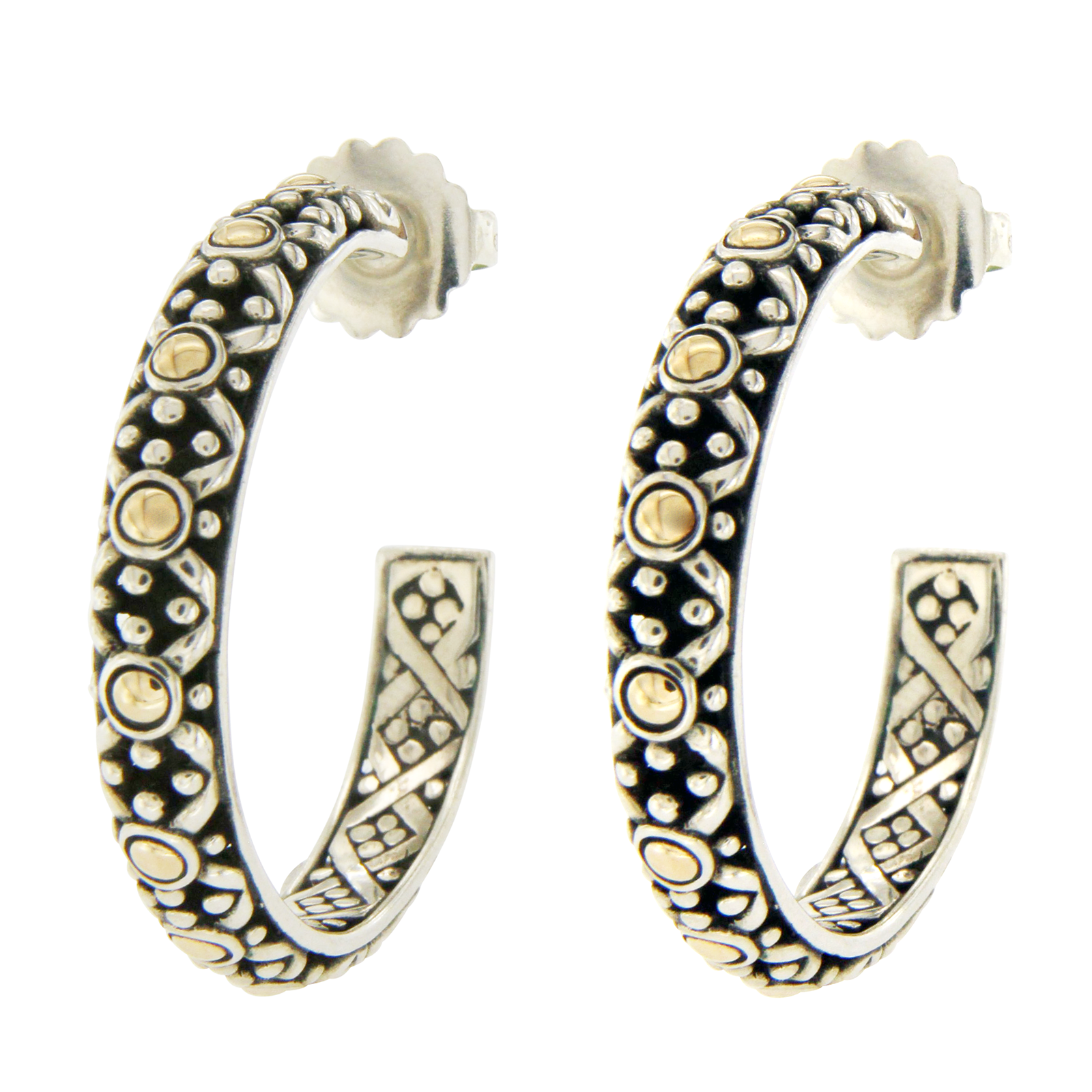 "Image of ""John Hardy 18K Yellow Gold and Sterling Silver Hoop Earrings"""