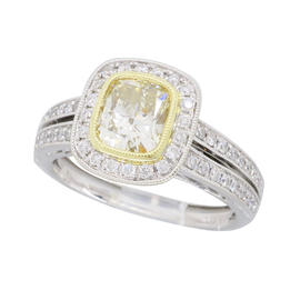 Sylvie 18K White Gold Light Yellow Cushion Cut 1.19CTW Diamond Ring