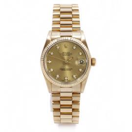 Rolex 18K Yellow Gold President Midsize Champagne Diamond Dial Watch